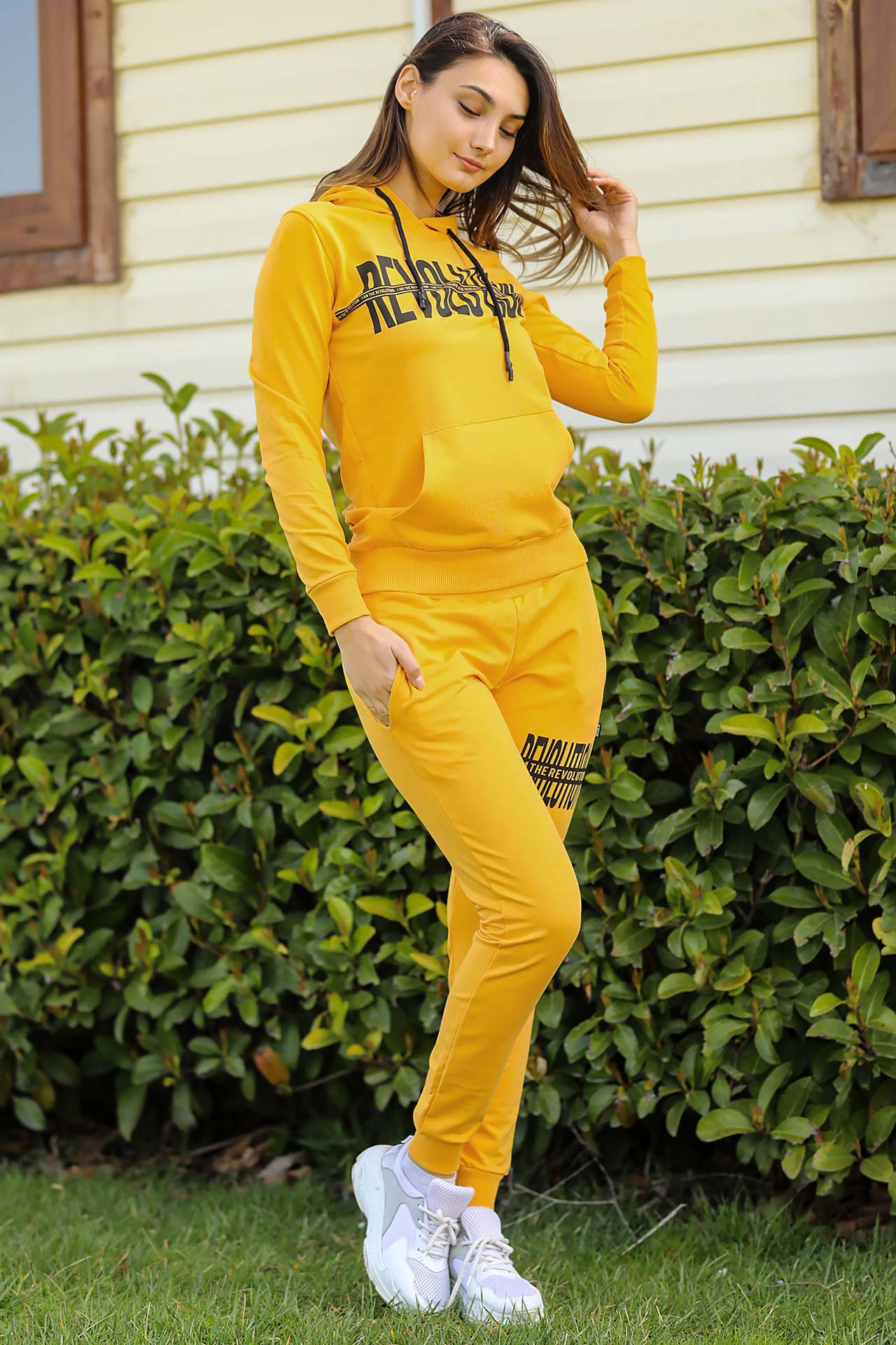 Women's Hooded Yellow Sweat Suit