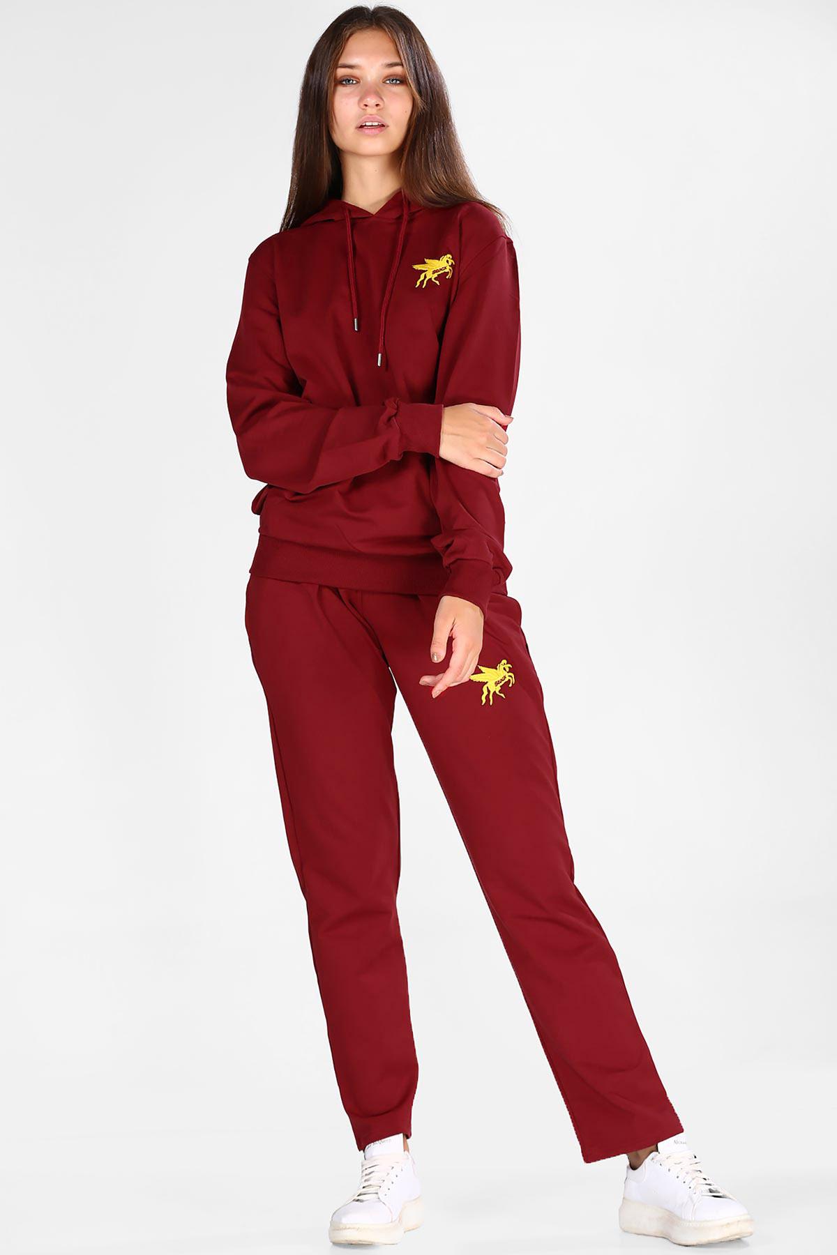 Women's Hooded Claret Red Sweat Suit