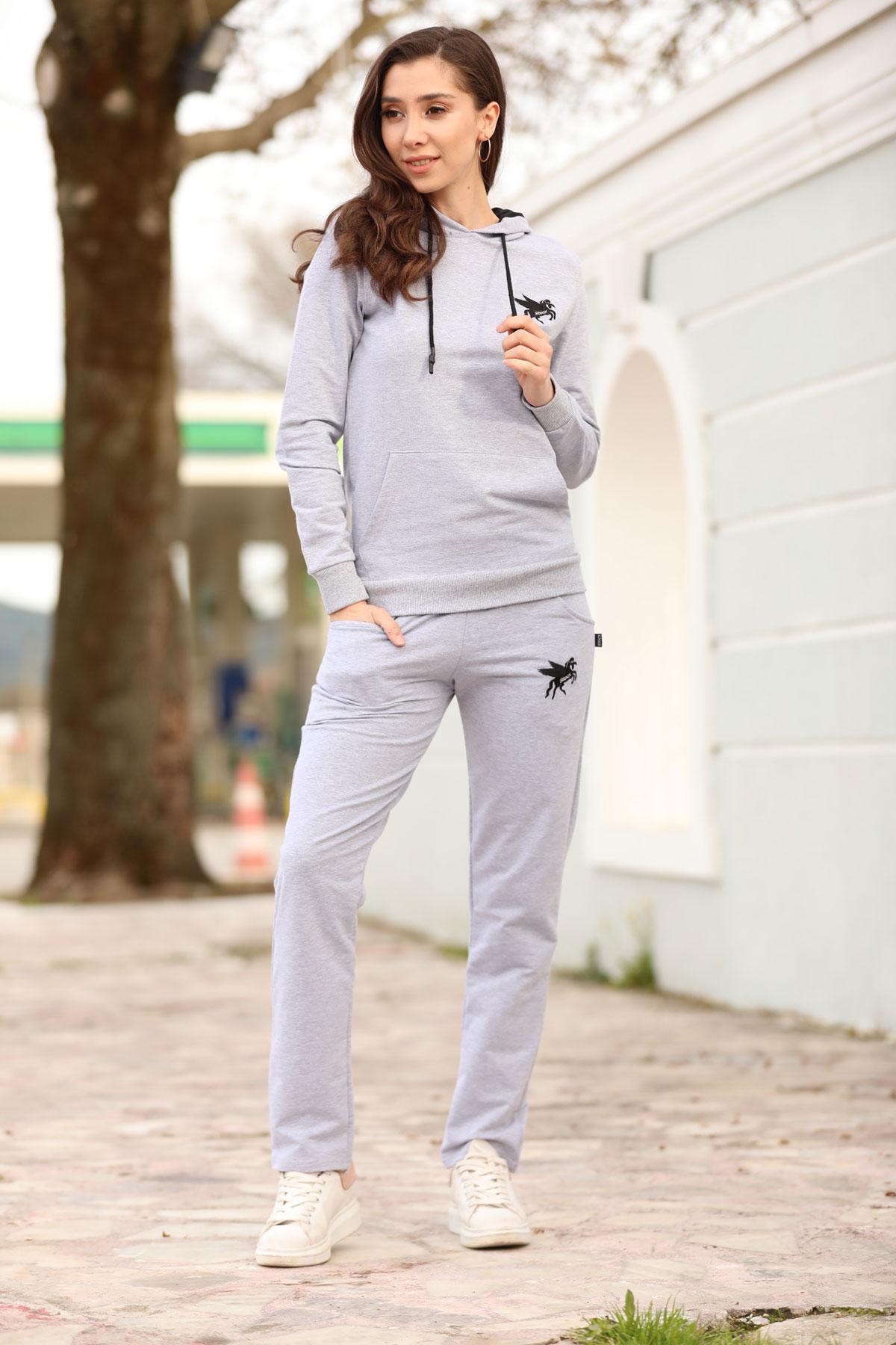 Women's Hooded Grey Sweat Suit