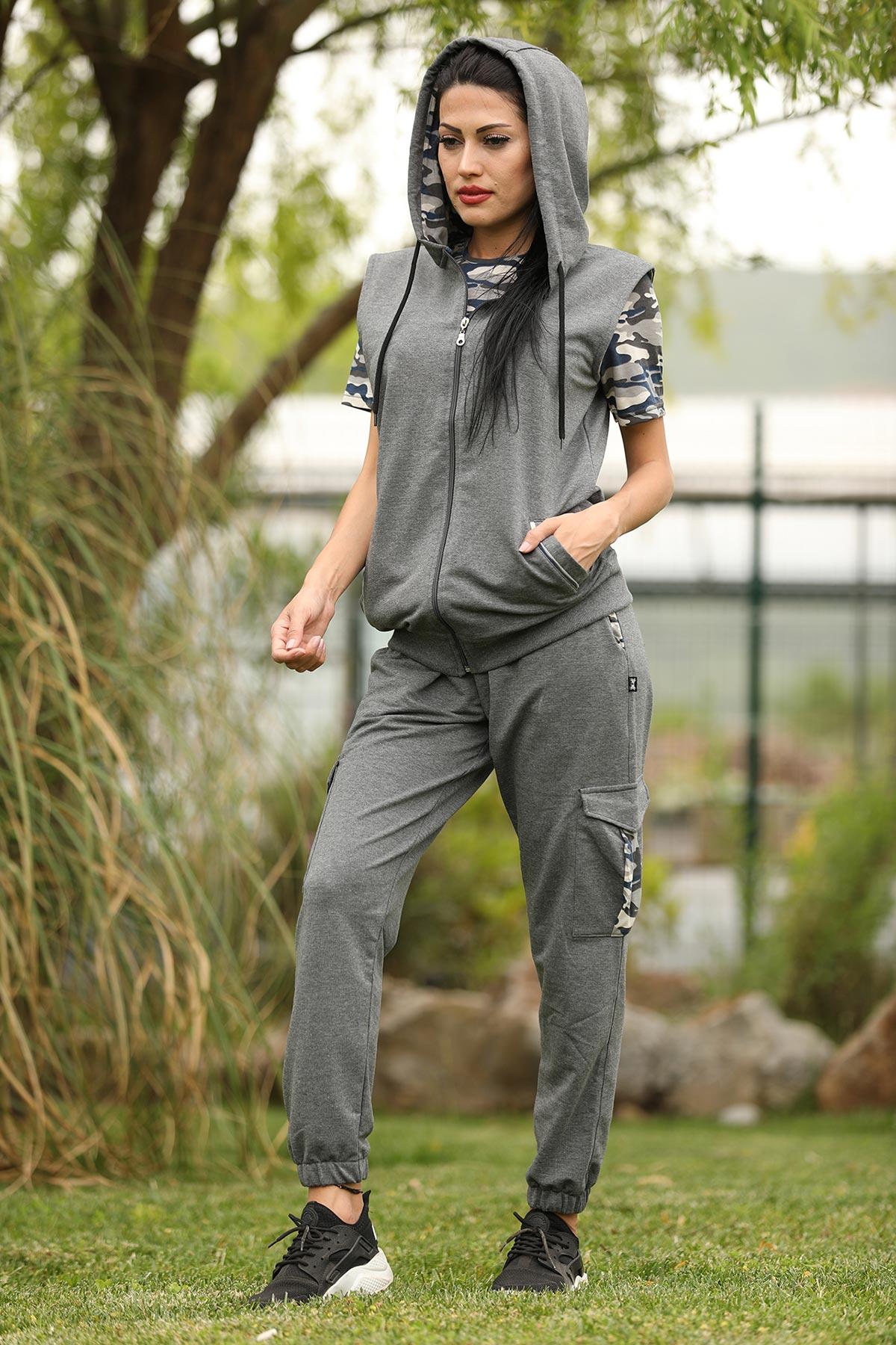 Women's Camouflage Pattern Dark Grey Sweat Suit