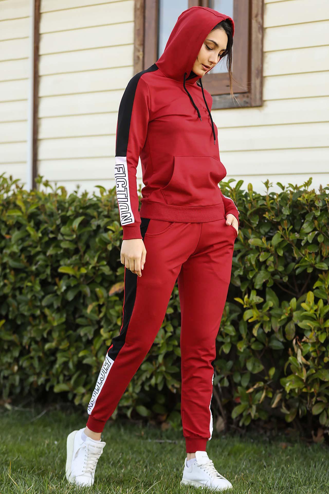 Women's Hooded Red Sweat Suit