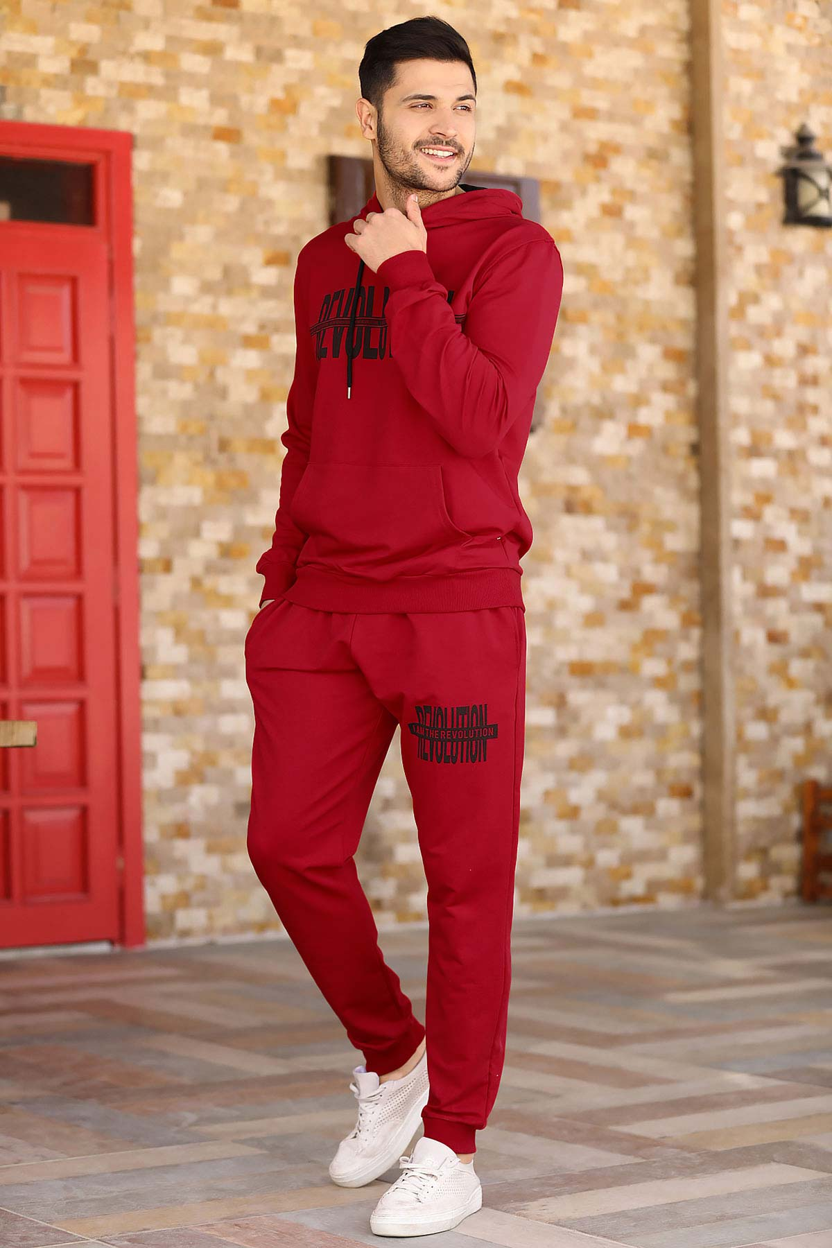 Men's Hooded Red Sweat Suit