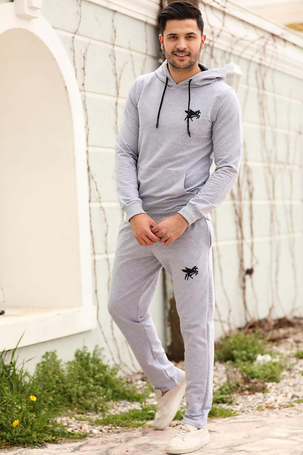 Men's Hooded Grey Sweat Suit