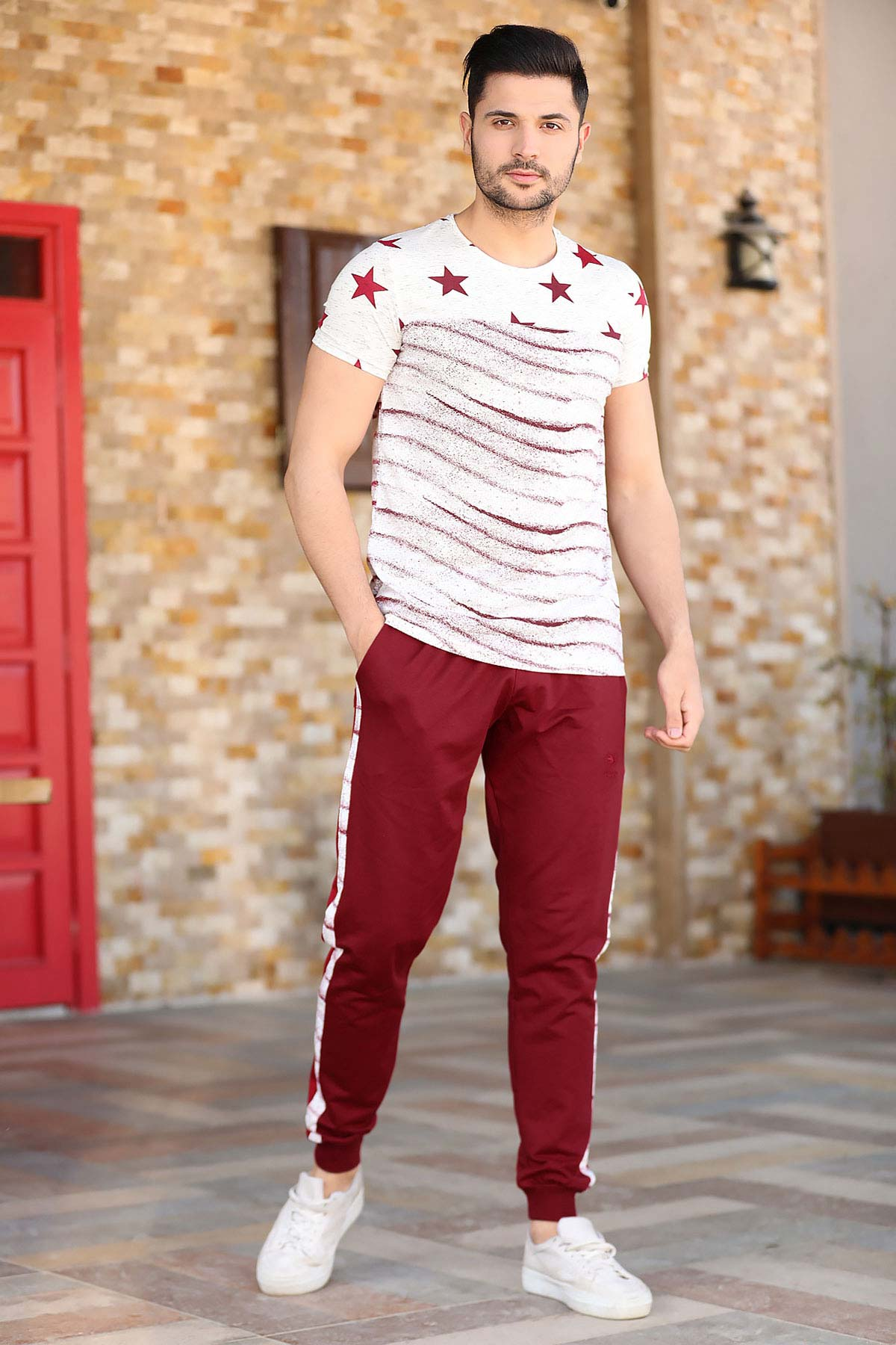 Men's Printed T-shirt Claret Red Pants Training Suit