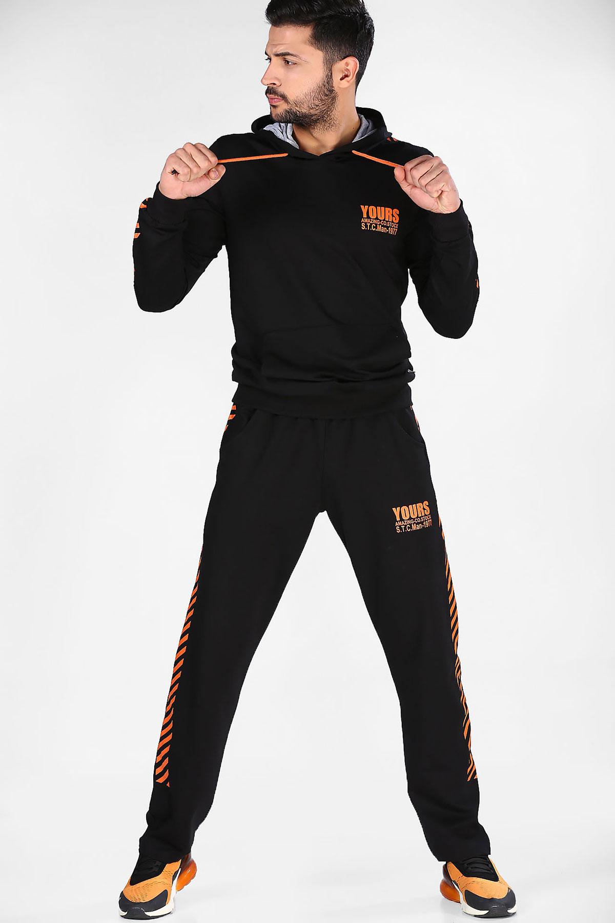 Men's Printed Black Training Suit