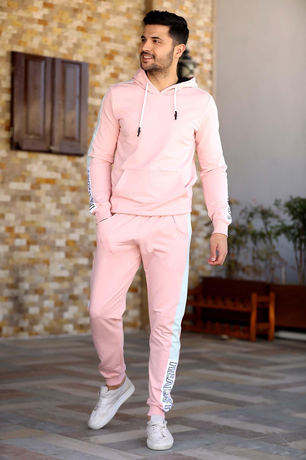 Men's Hooded Powder Rose Sweat Suit