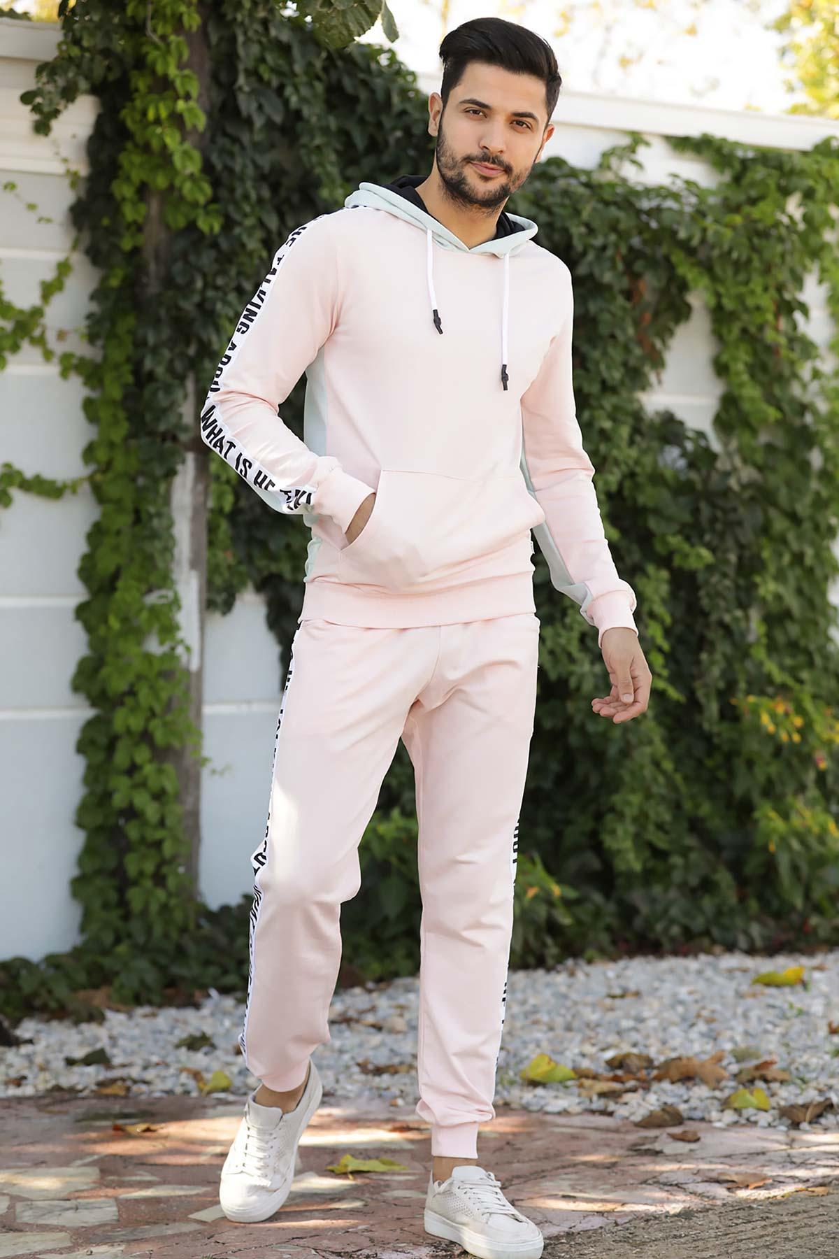 Men's Printed Pink Sweat Suit