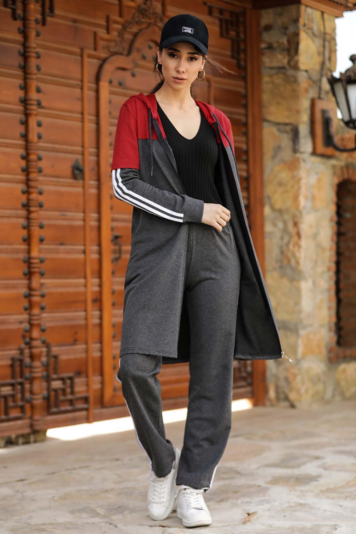 Hooded Side Stripe Smoky Sweat Suit