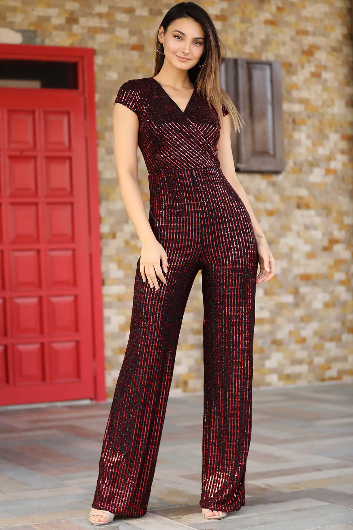 Women's Sequin Claret Red Overall