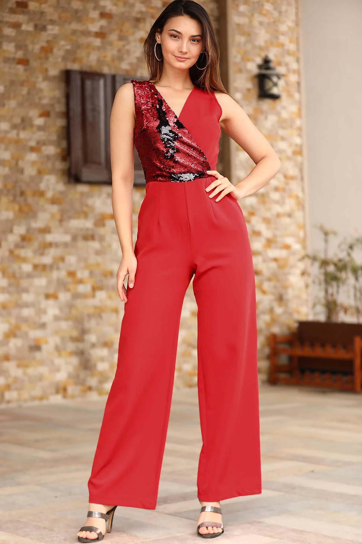 Women's Sequin Top Red Overall