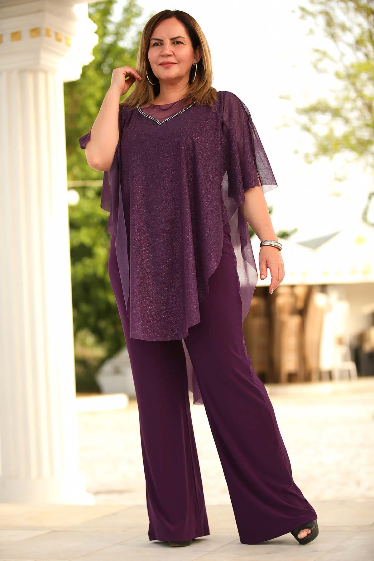 Women's Oversize Glitter Purple Overall