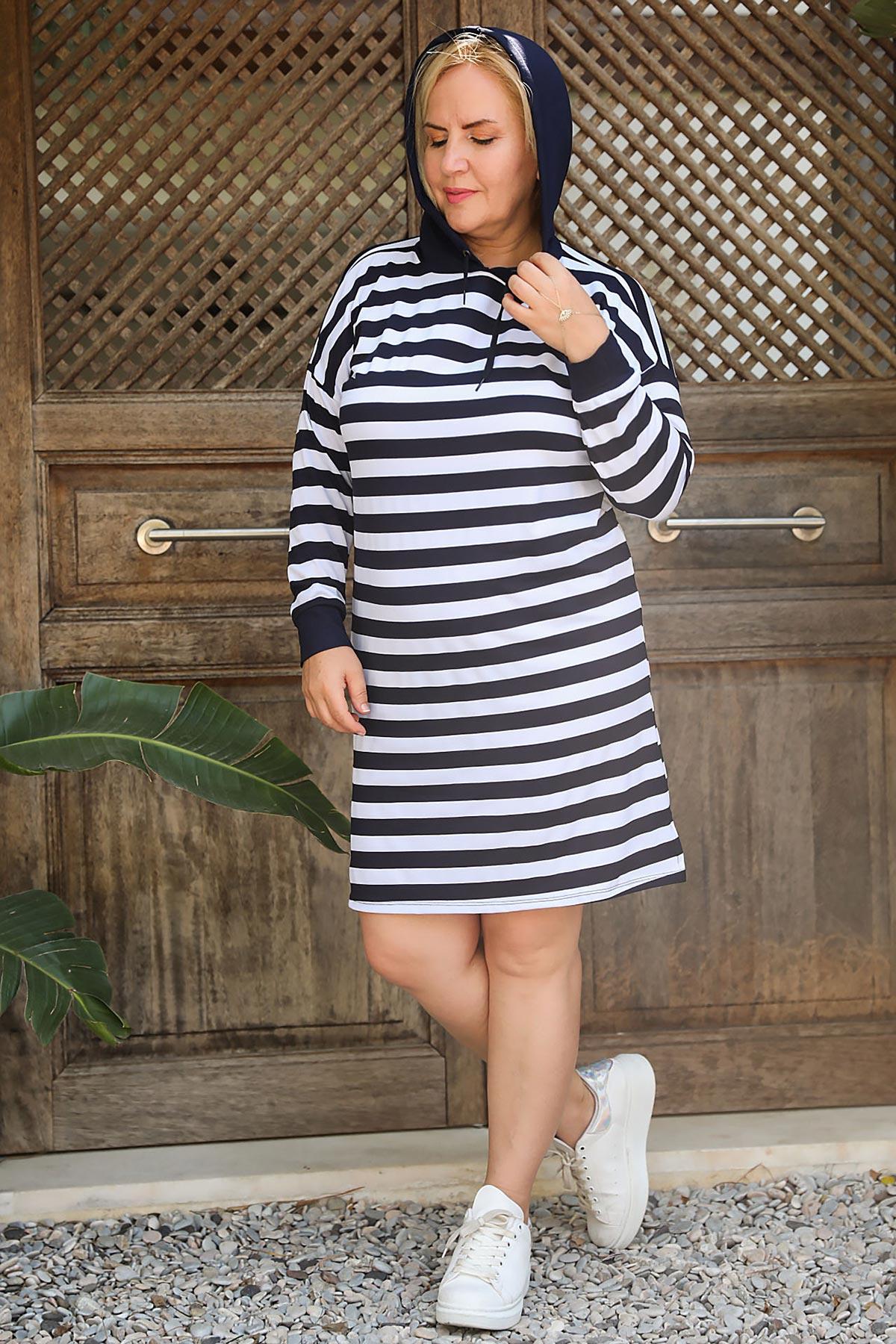 فستان هودي مخطط قصير مقاس كبير نسائي
