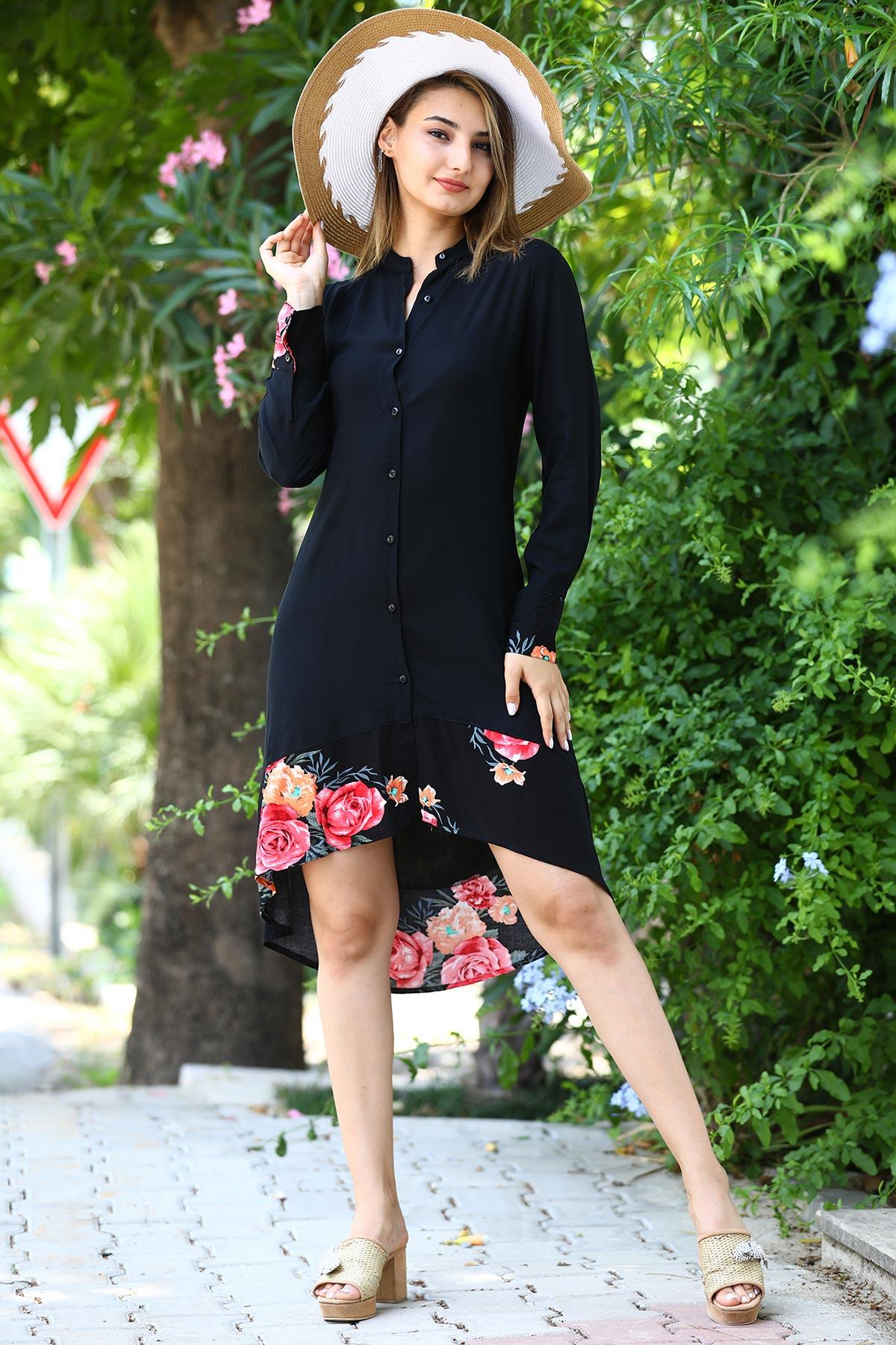 فستان / تونيك أسود مزخرف بأزرار نسائي