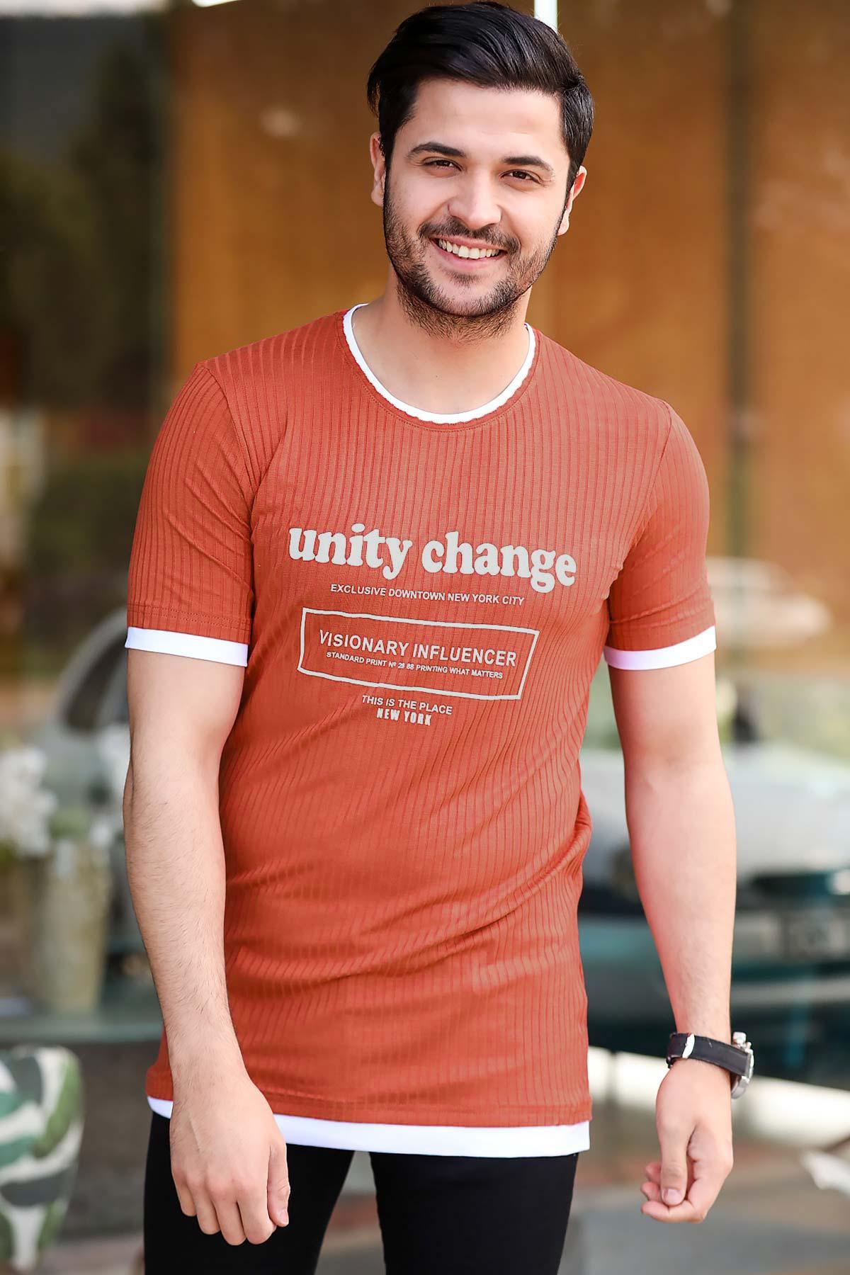 Men's Printed Tile Red T-shirt