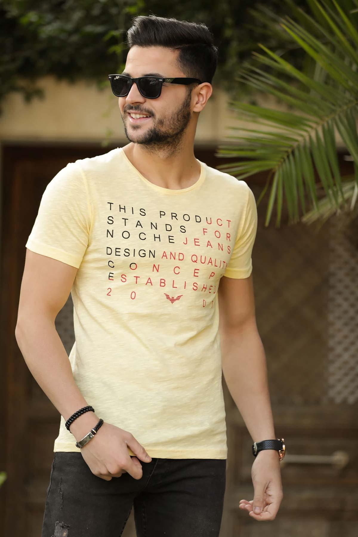 Men's Text Print Yellow T-shirt