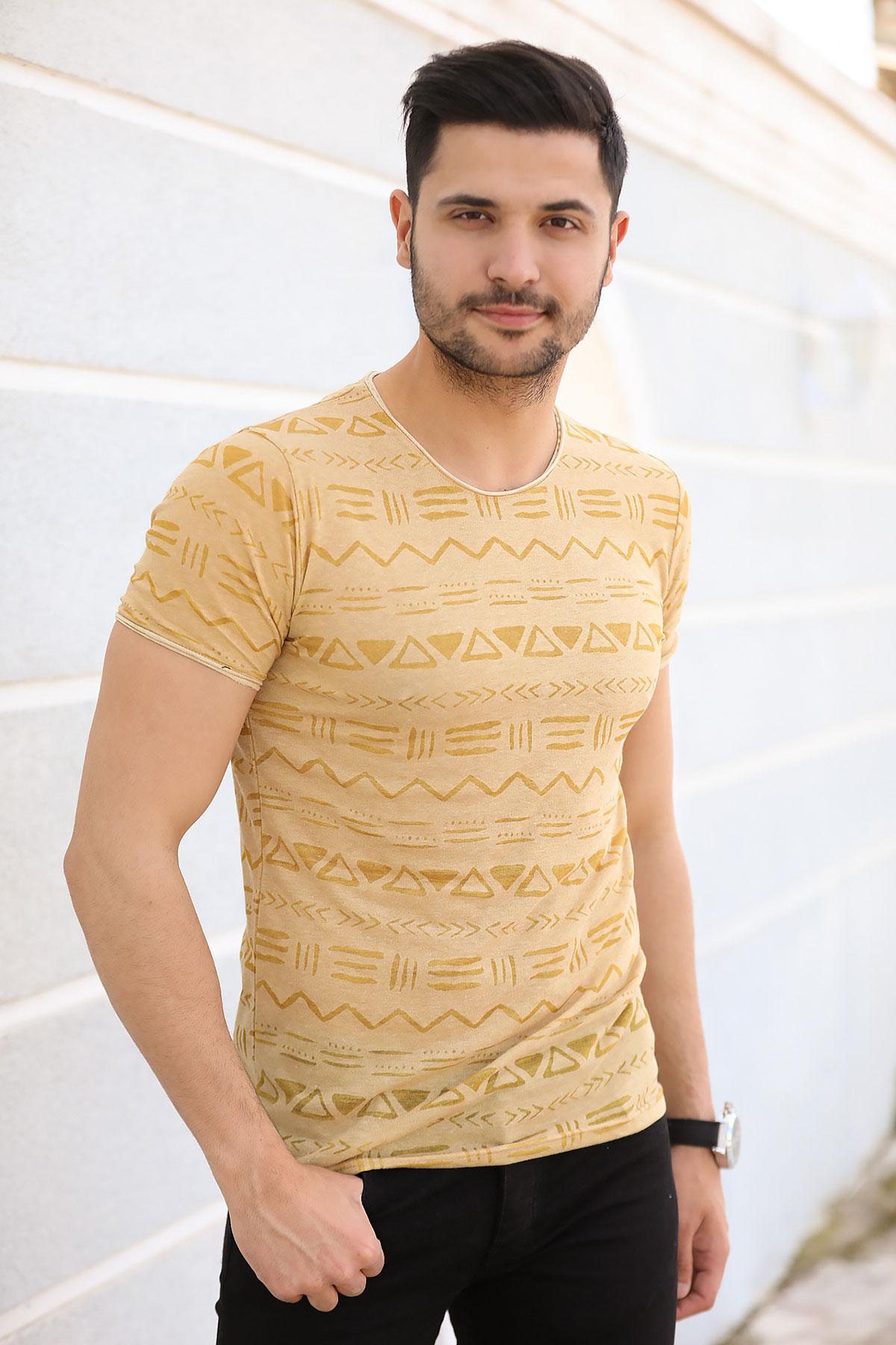 Patterned Mustard T-shirt