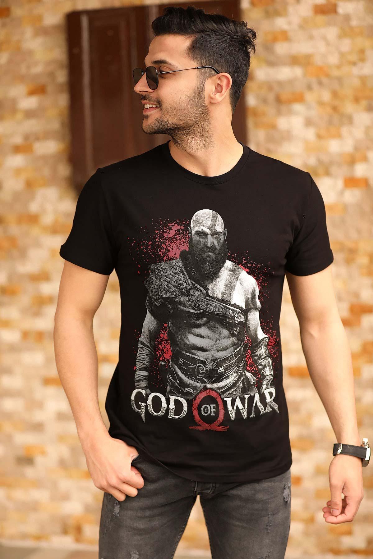 Men's Printed Black T-shirt