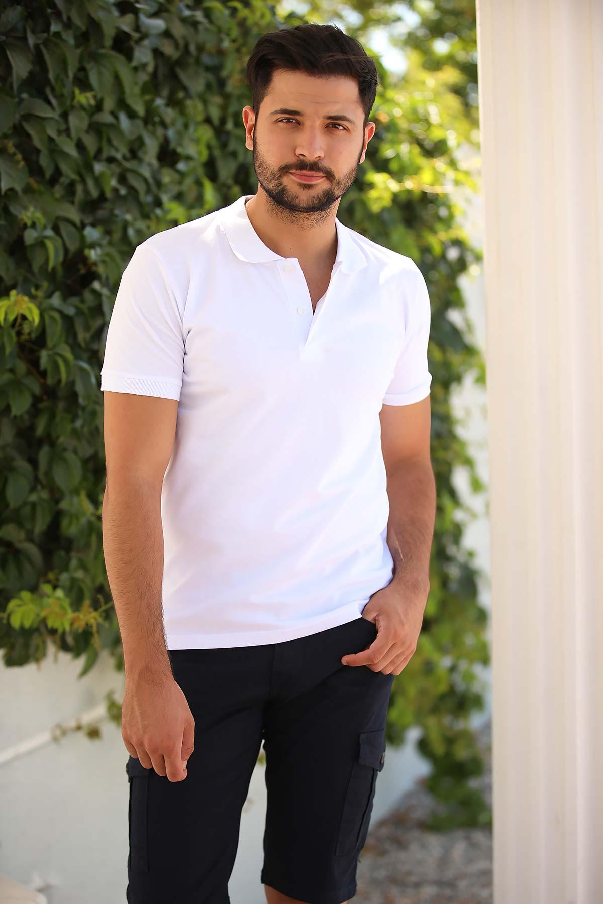 Men's Polo Collar White T-shirt