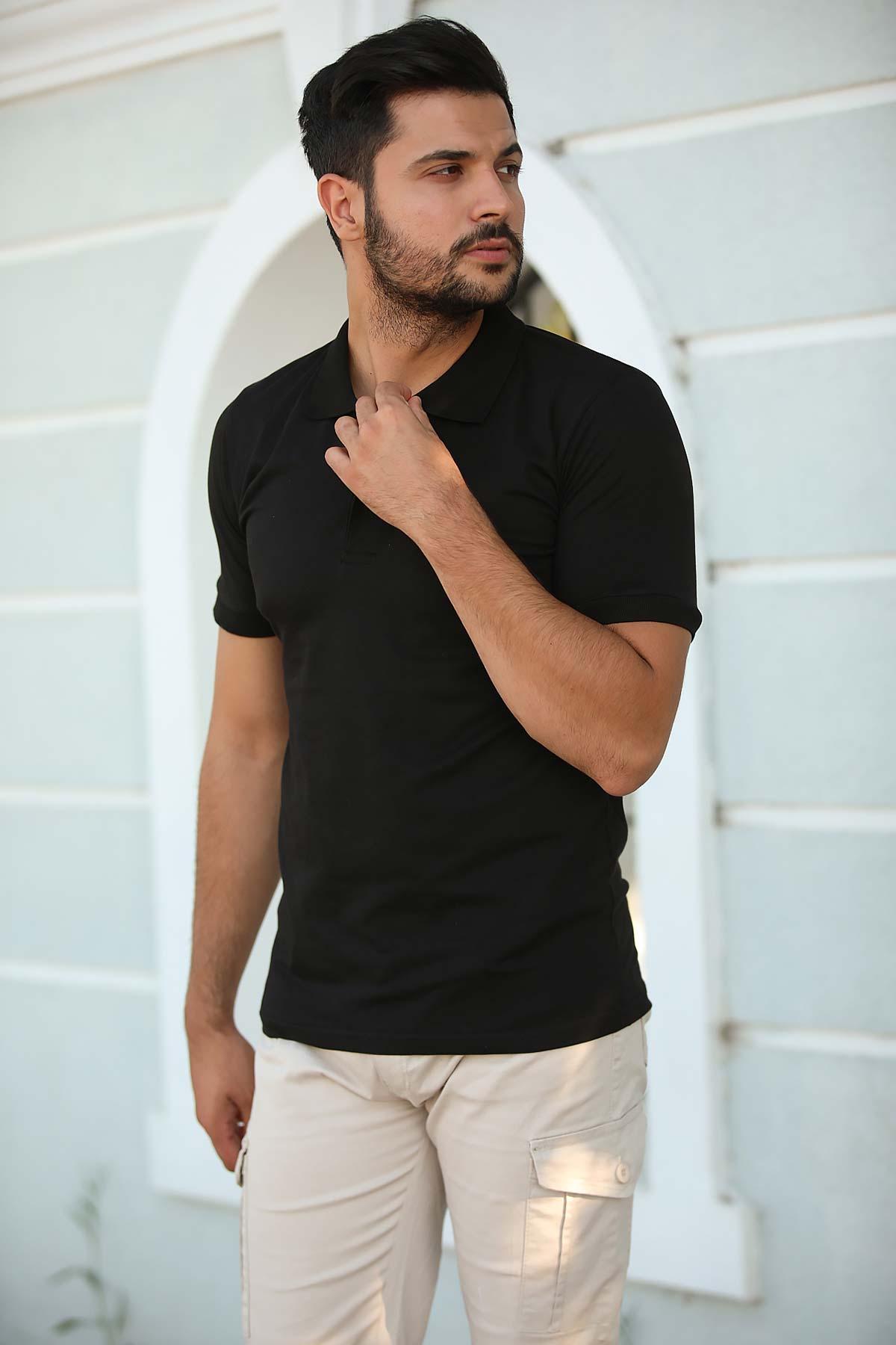 Men's Polo Collar Black T-shirt