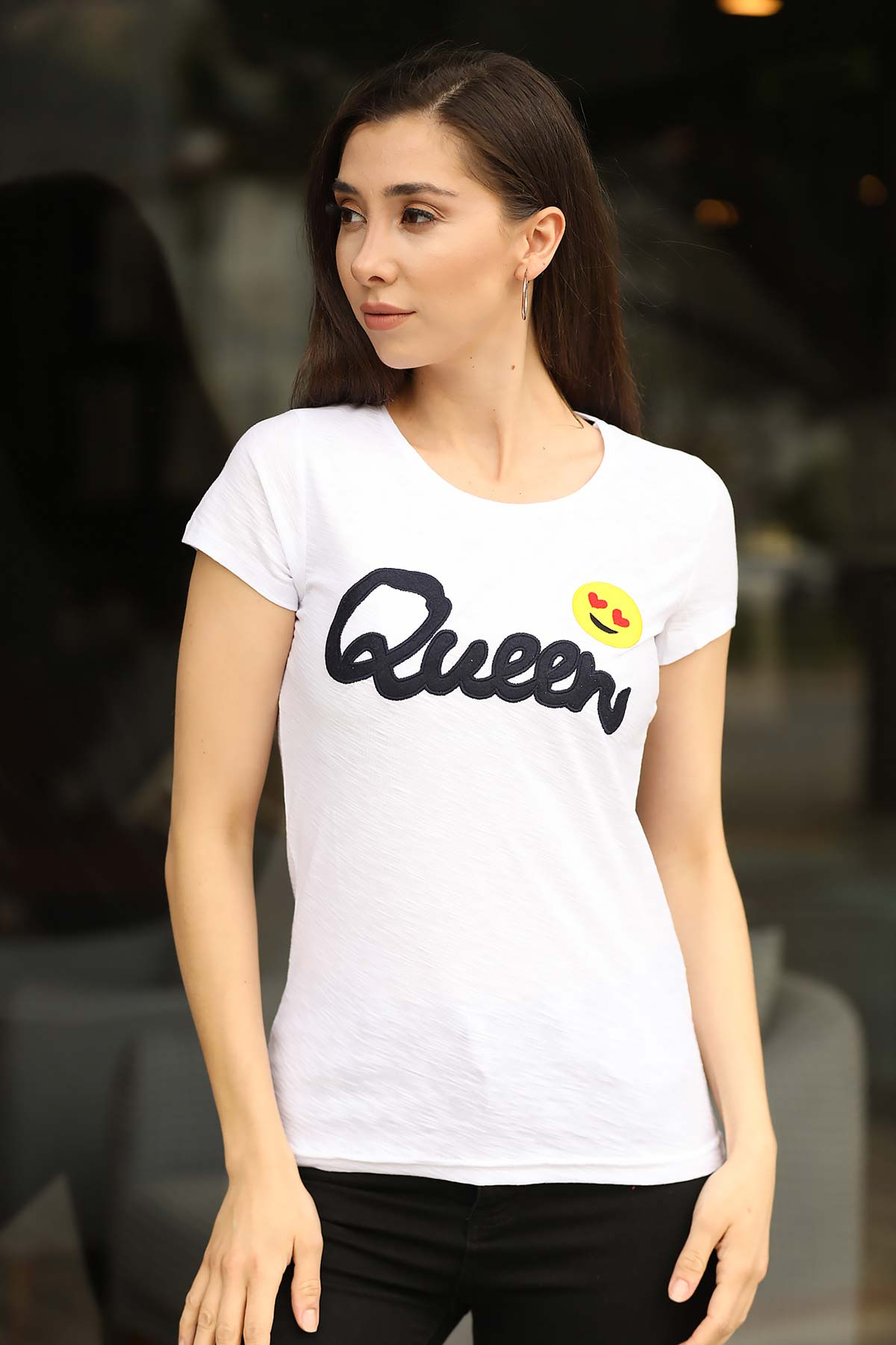 Women's Front Printed White T-shirt