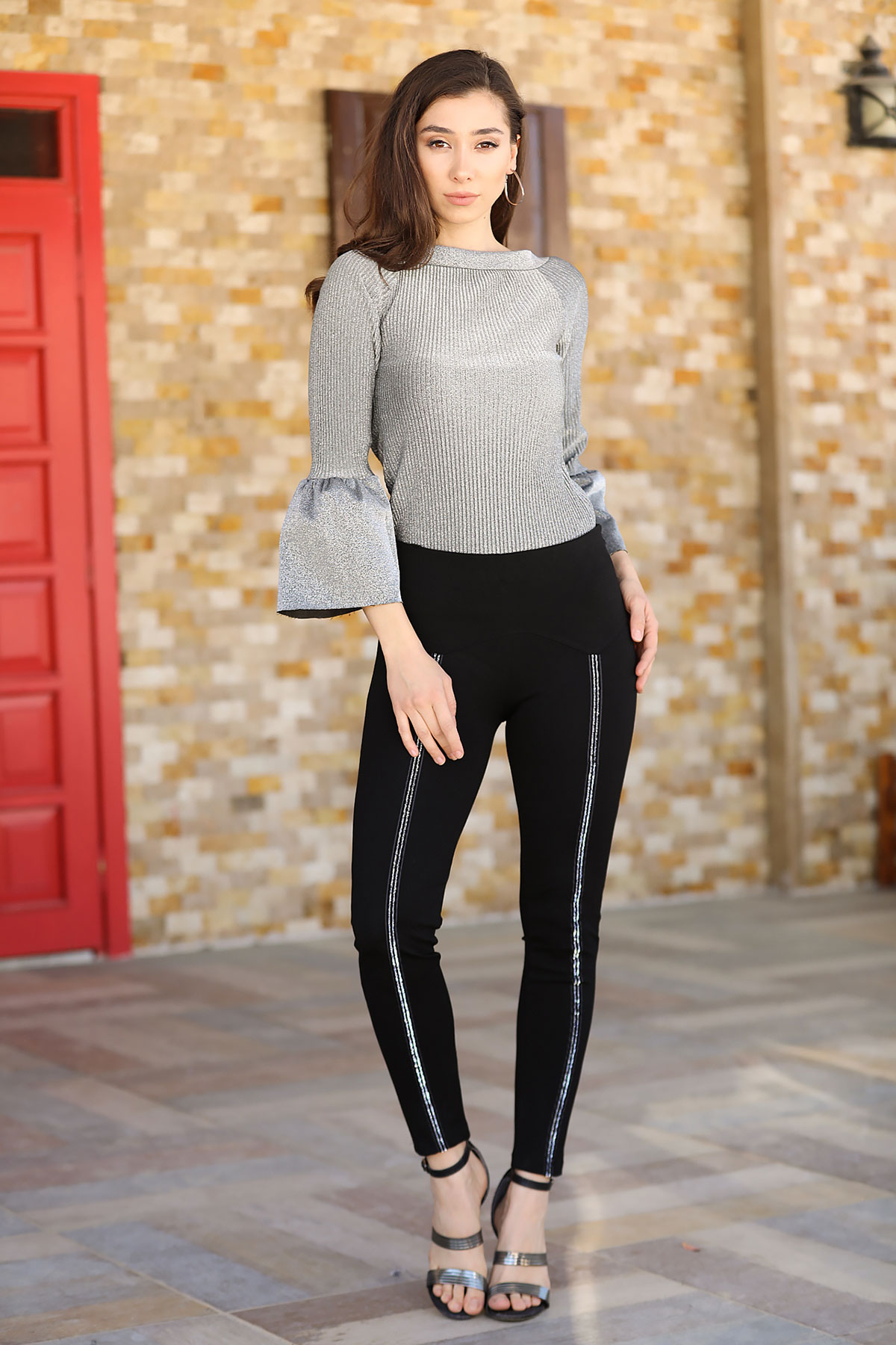 Women's Glitter Strip Black Tights