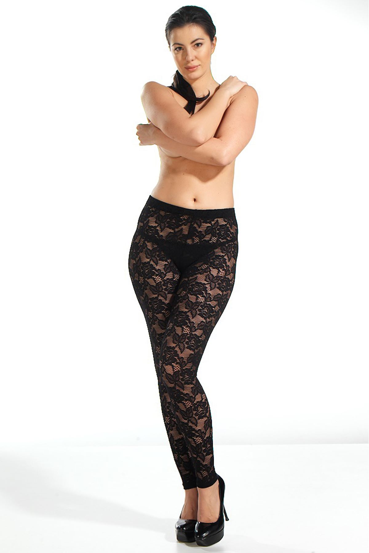 Lace Detailed Long Black Tights