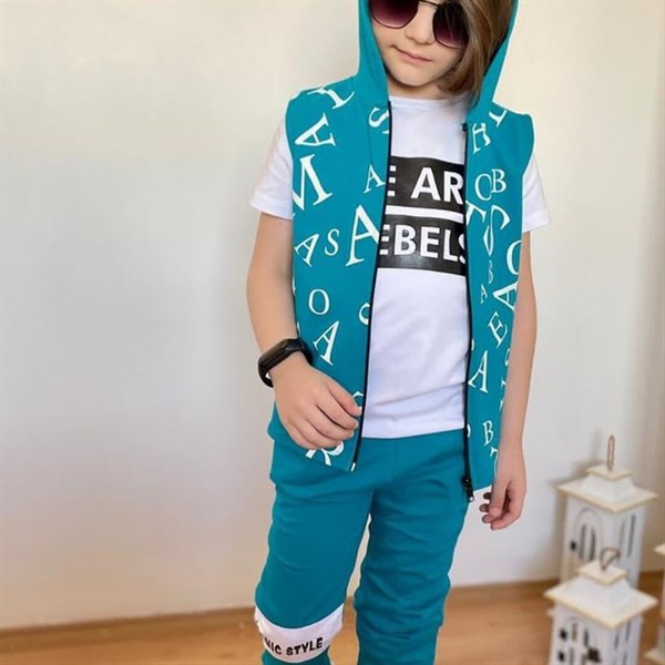 Boy's Printed T-shirt, Sport Pants & Vest Set