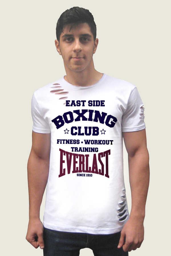 Men's Short Sleeve Ripped White T-shirt