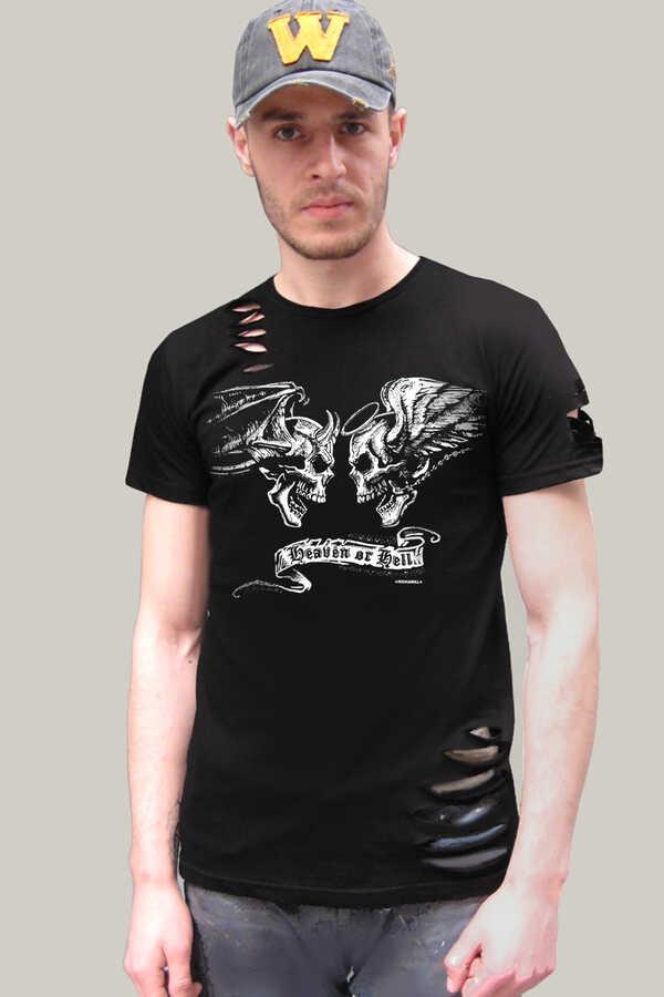 Men's Short Sleeve Ripped Black T-shirt