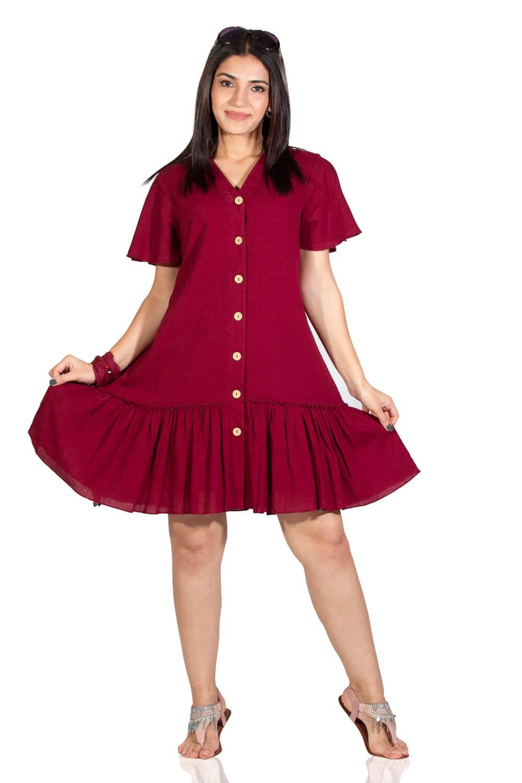 فستان قصير عنابي نسائي