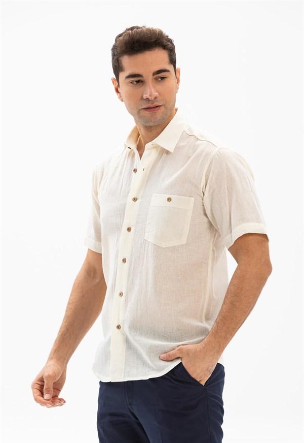 قميص كريمي بأكمام قصيرة رجالي
