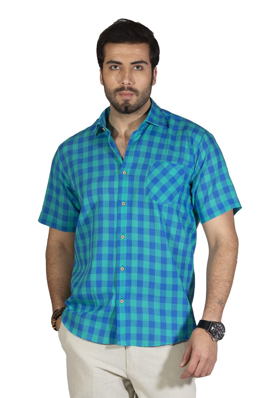 قميص أخضر فاتح بمربعات وأكمام قصيرة رجالي