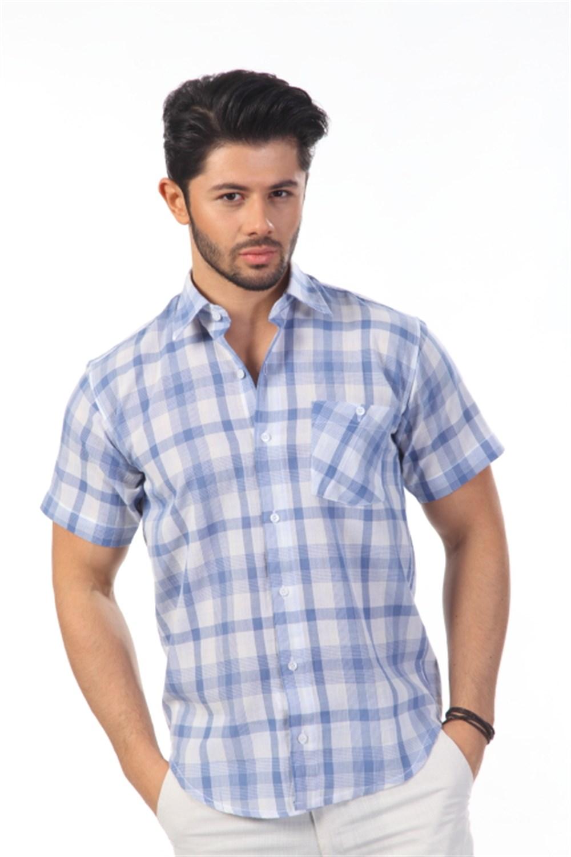 قميص مربعات بأكمام قصيرة رجالي