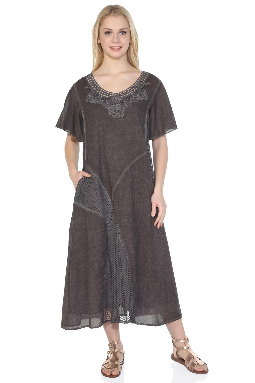فستان ميدي بني غامق نسائي
