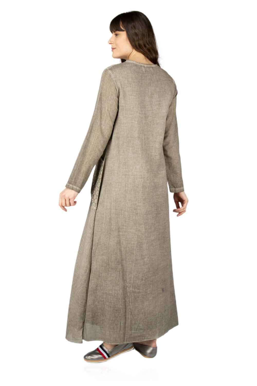 فستان طويل بيج رملي بجيوب نسائي