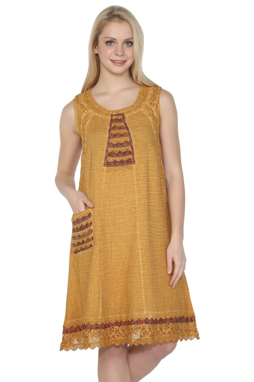 فستان قصير أصفر غامق نسائي