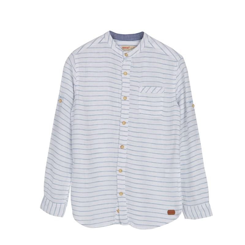 Teen Boy's Long Sleeve Striped Button White Shirt