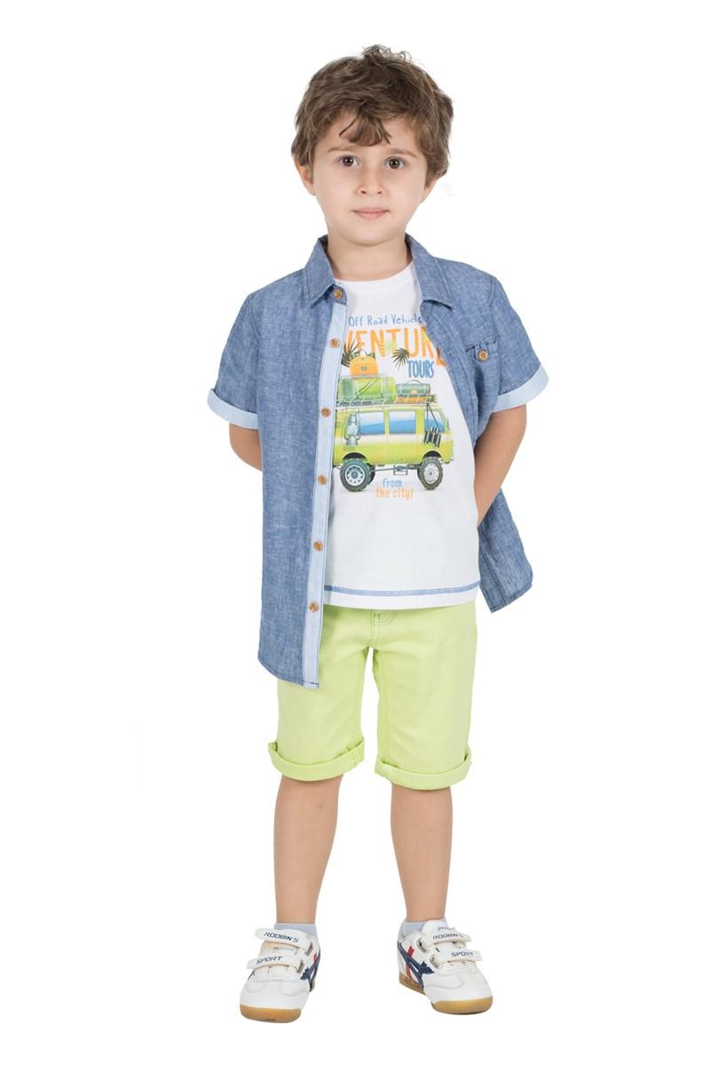 Boy's Short Sleeve Pocket Blue Shirt