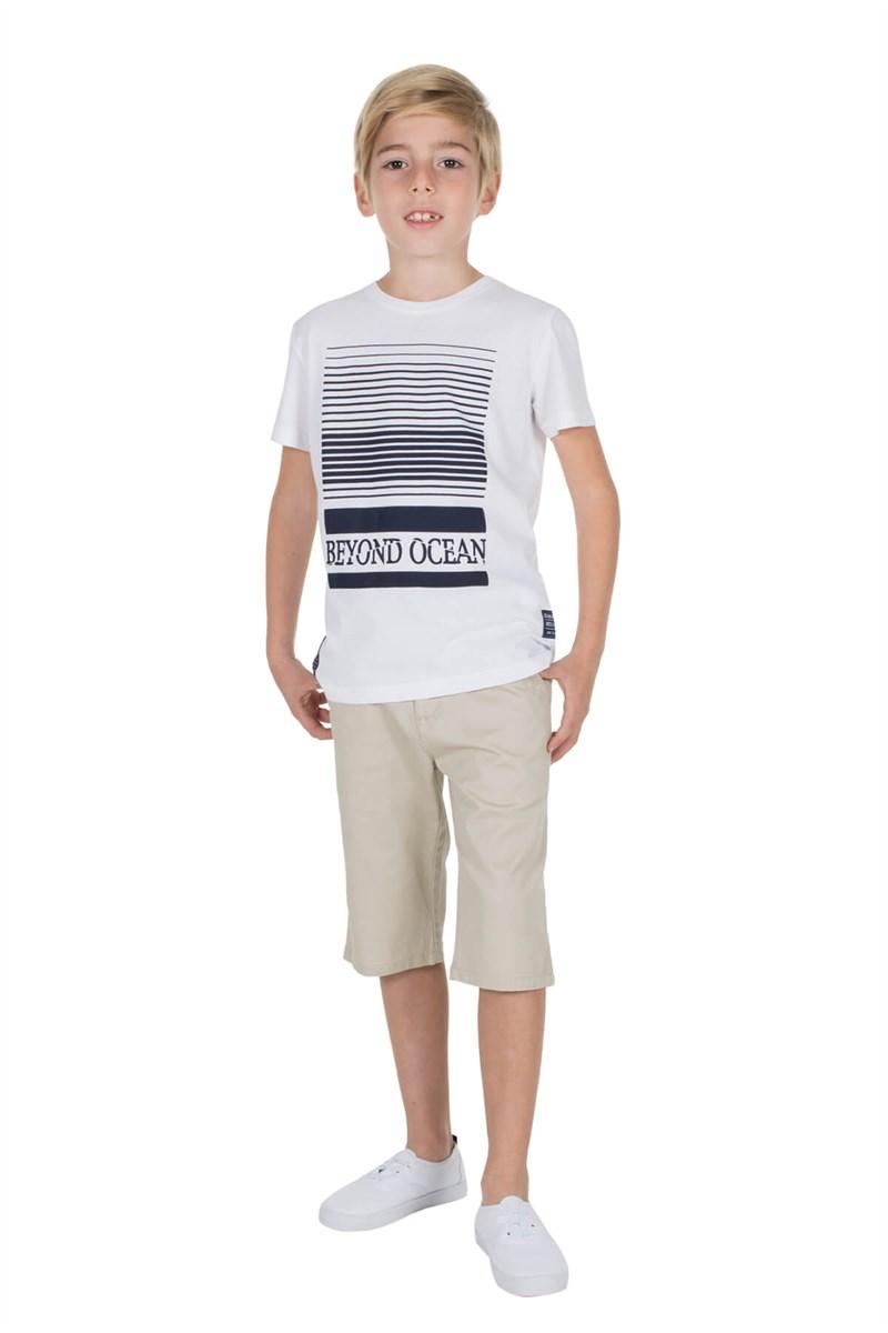 Boy's Short Sleeve Printed White T-shirt