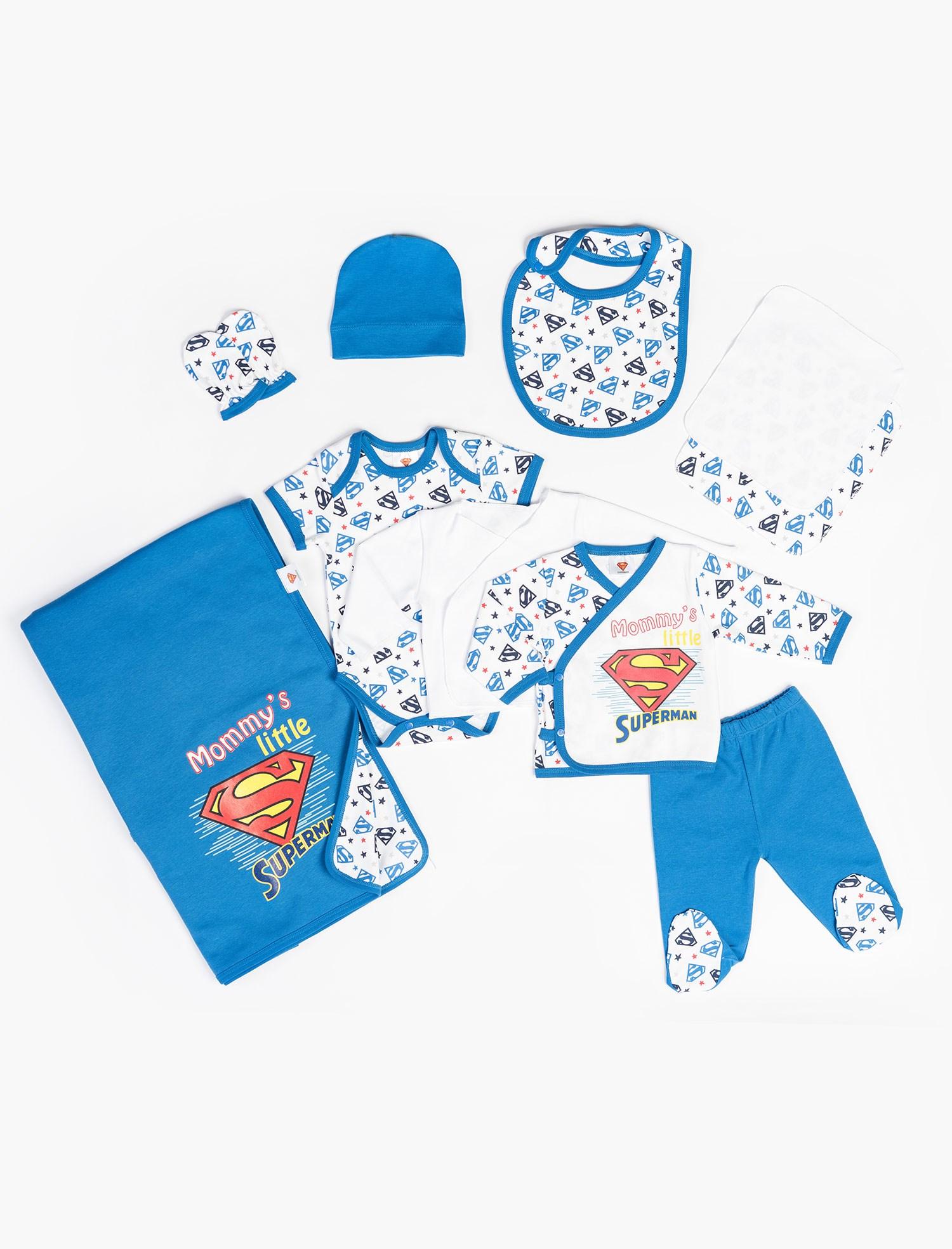 طقم ملابس أزرق رضع حديثي الولادة - 10 قطع