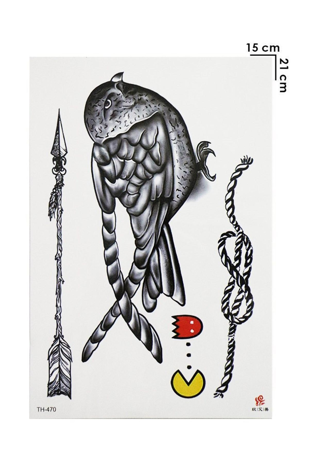 Bird, Rope & Arrow Model Temporary Tattoo