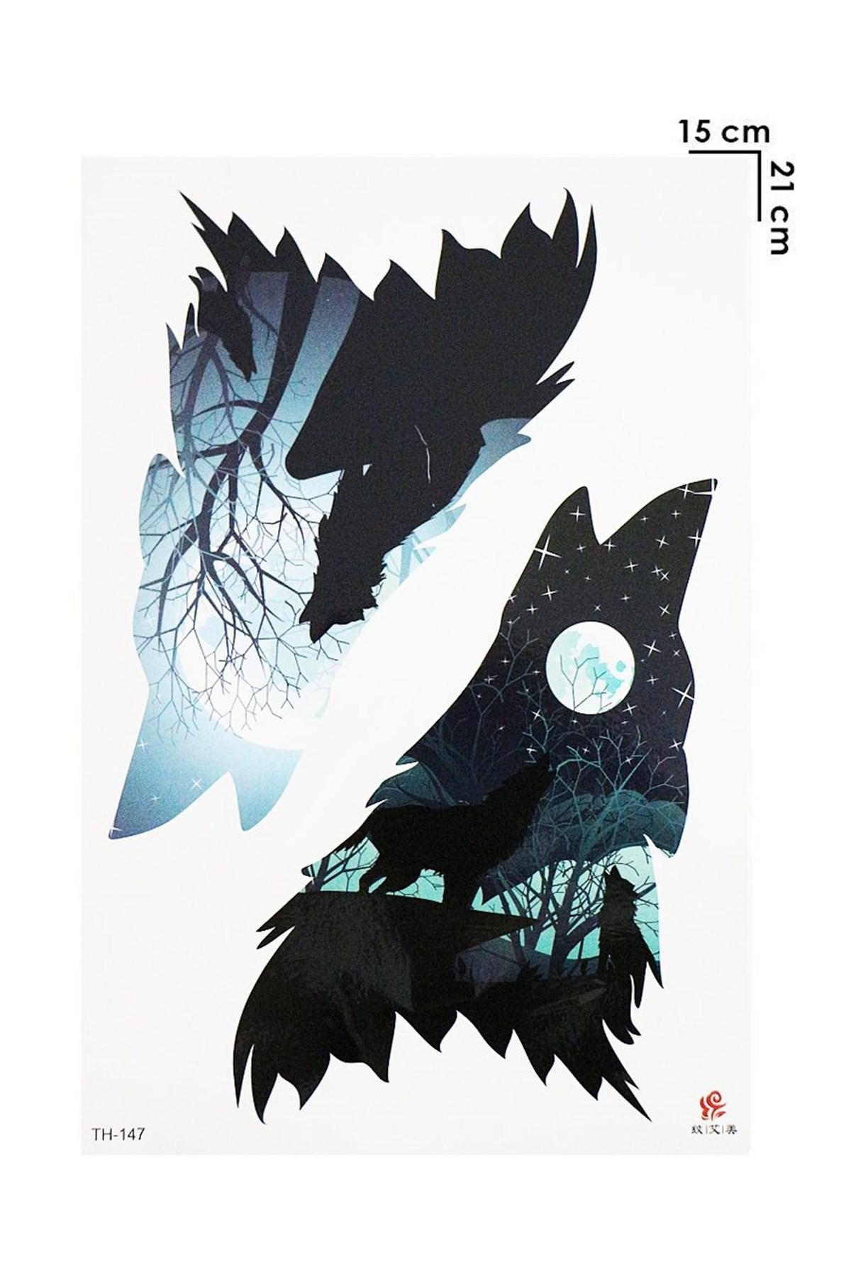 Wolf Model Temporary Tattoo