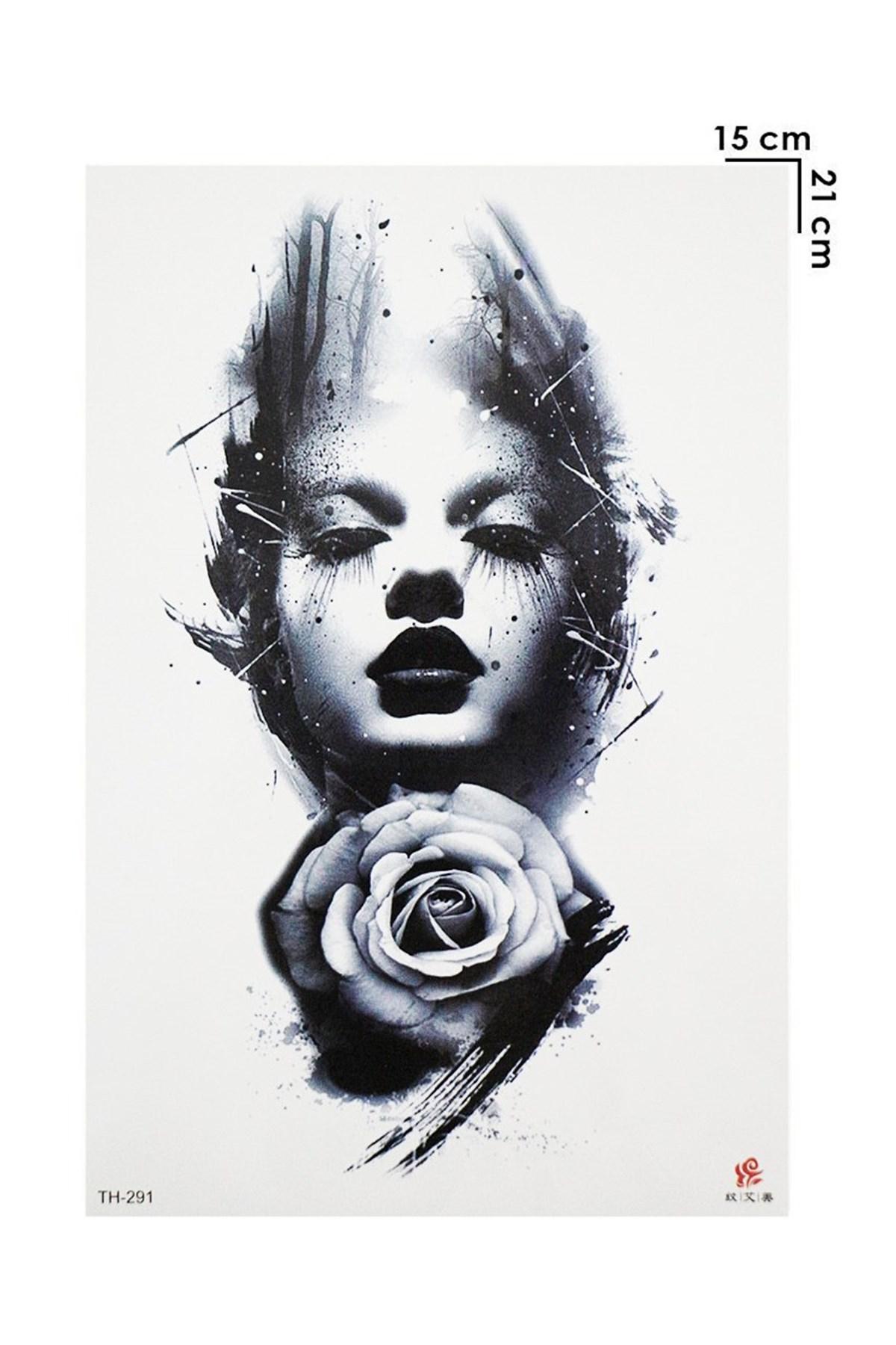 Woman & Rose Model Temporary Tattoo