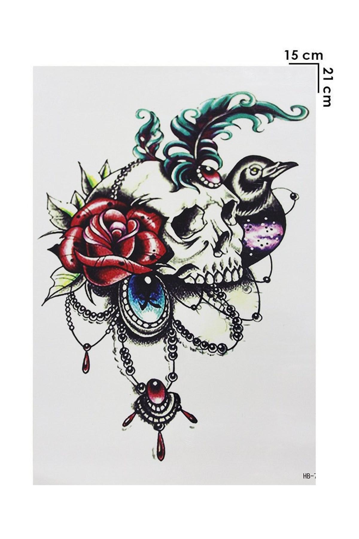 Skull & Rose Design Temporary Tattoo