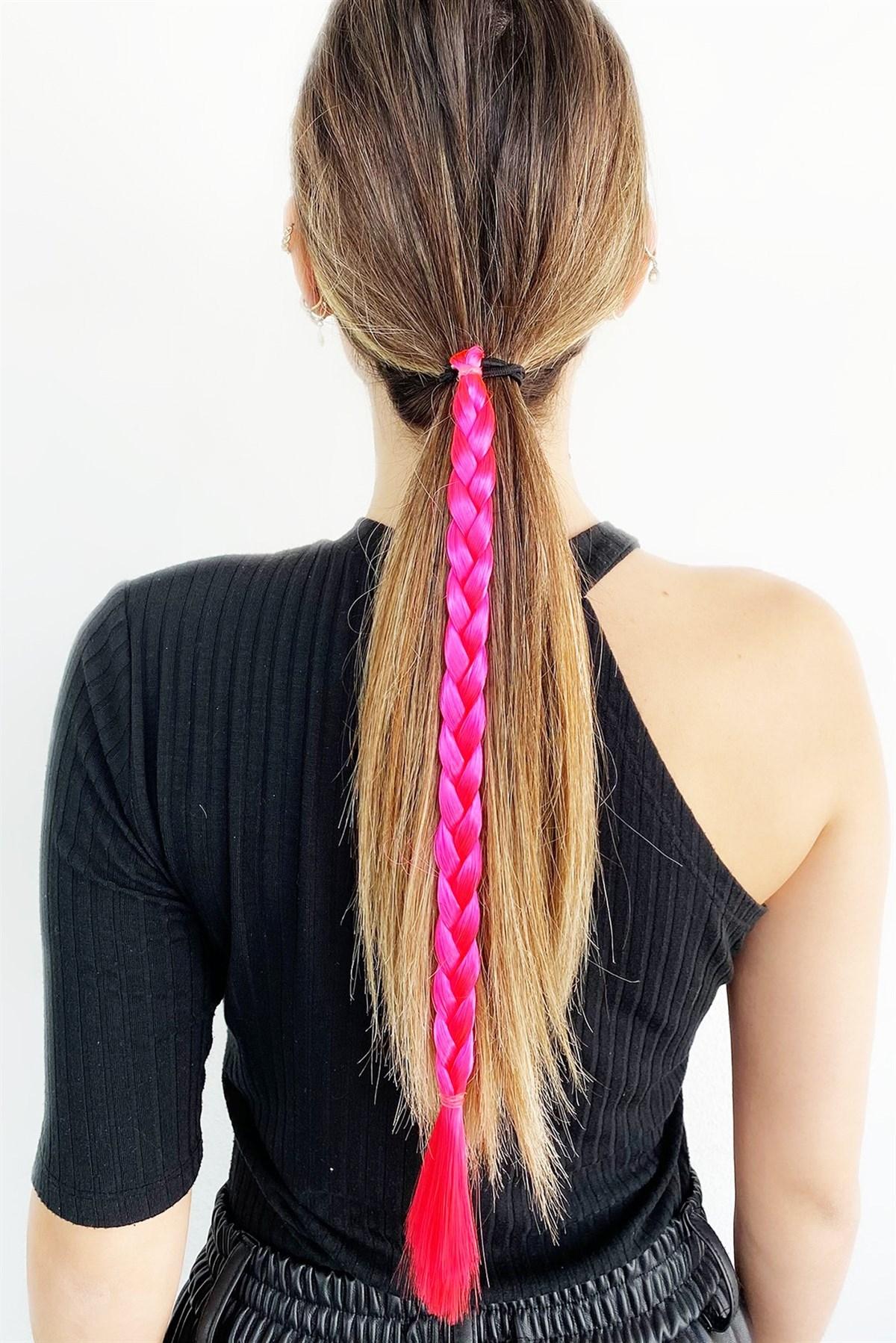 توكة شعر مرنة مضفرة وردي نيون نسائية