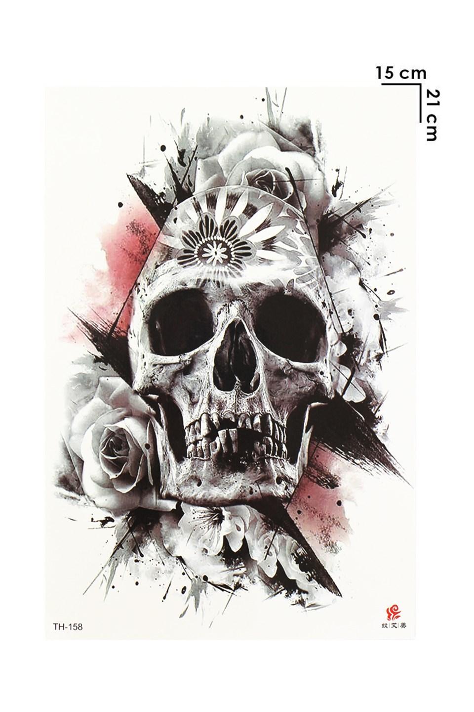 Skull Model Temporary Tattoo