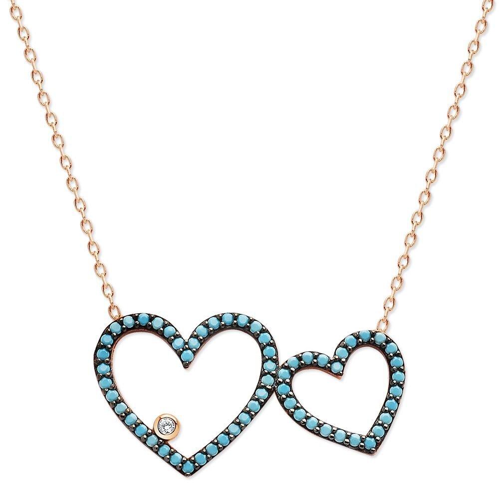 Women's Turquoise Zircon Gemmed 925 Carat Silver Necklace