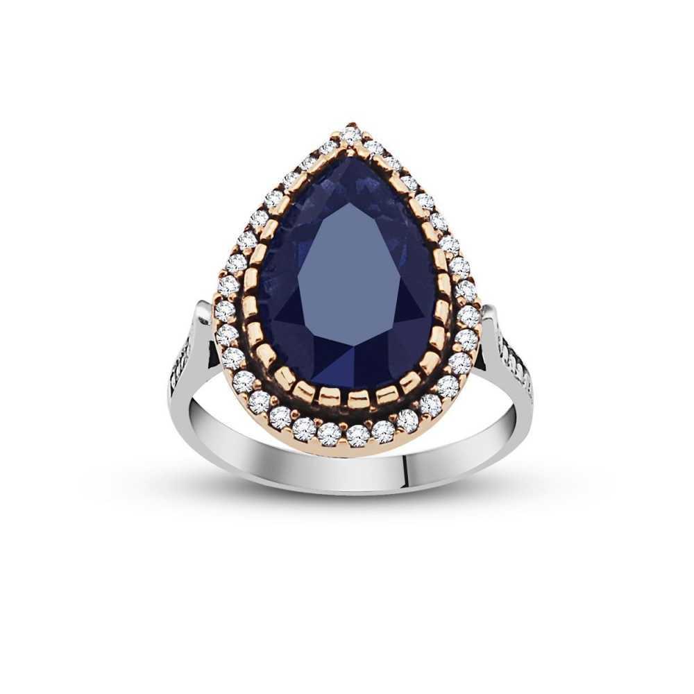 Women's Blue Ruby & Zircon Gemmed Authentic 925 Carat Silver Ring