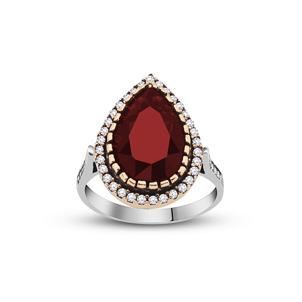 Authentic Drop Design Zircon & Ruby Gemmed 925 Carat Silver Ring