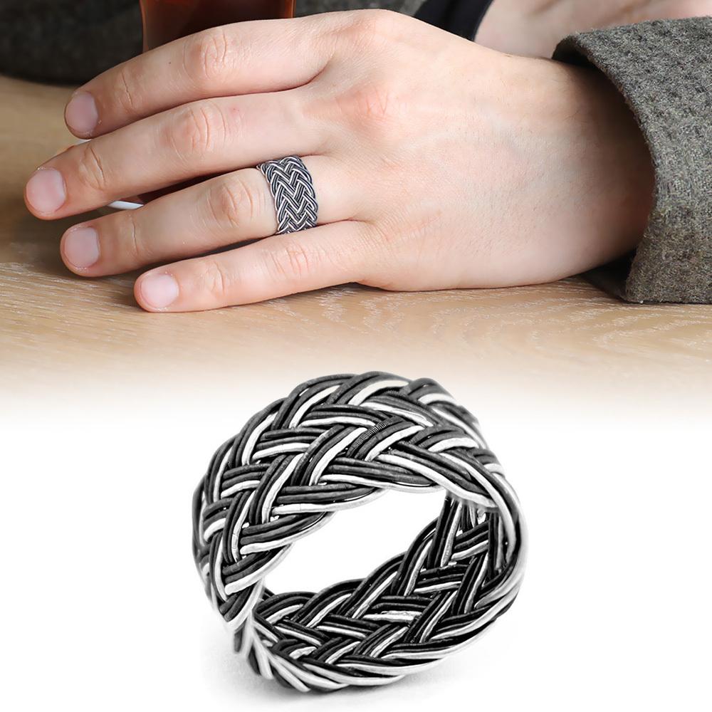 خاتم فضة عيار 925 بيضاء- سوداء صنع يدوي رجالي